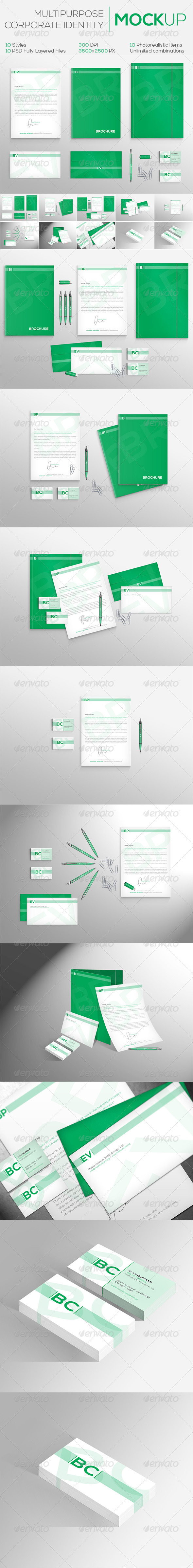 GraphicRiver Multipurpose Corporate Identity MockUp 10 Styles 3193158