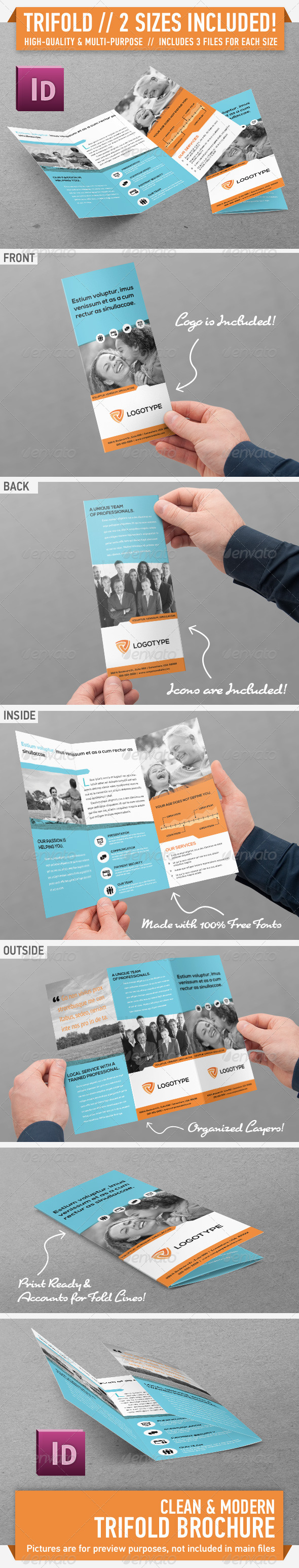 Clean Modern Trifold Brochure - Vol. 2 - Corporate Brochures
