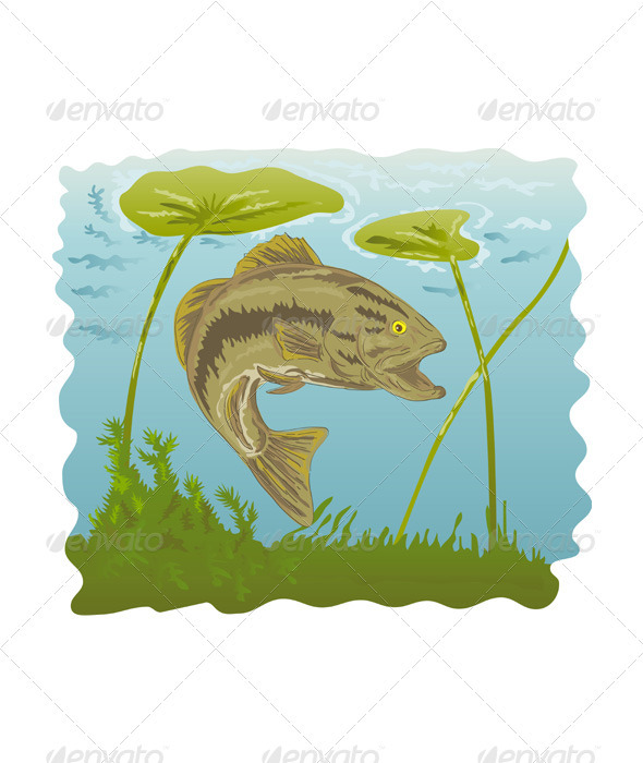 Largemouth bass jumping GraphicRiver - Vectors -  Characters  Animals 3194951