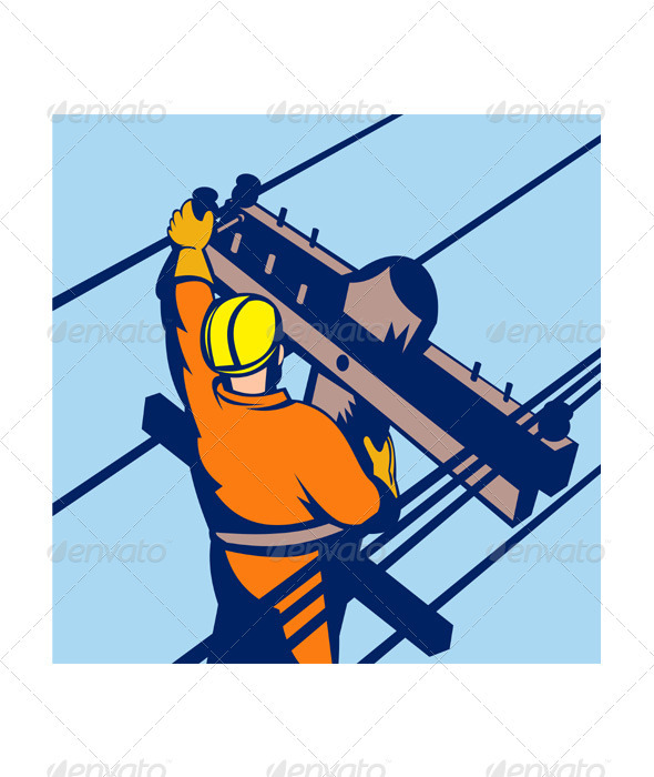 Power Lineman Telephone Repairman Electrician GraphicRiver - Vectors -  Conceptual  Business  Industries 3194956