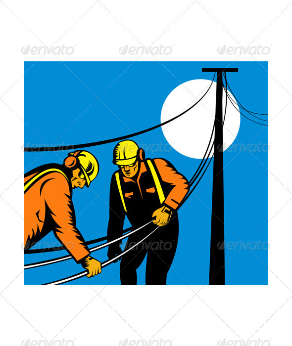 Power Lineman Telephone Repairman Electrician GraphicRiver - Vectors -  Conceptual  Business  Industries 3194968