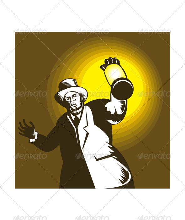 Man Wearing Top hat And Holding Lantern  GraphicRiver - Vectors -  Characters  People 3195294