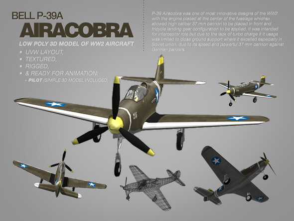 Bell P-39A Airacobra 3d model of WW2 aircraft - 3DOcean Item for Sale