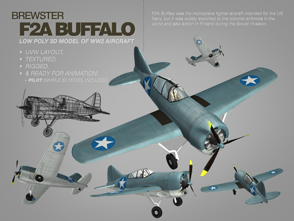 3DOcean Brewster F2A Buffalo 3ds max model of WW2 aircraft 112034