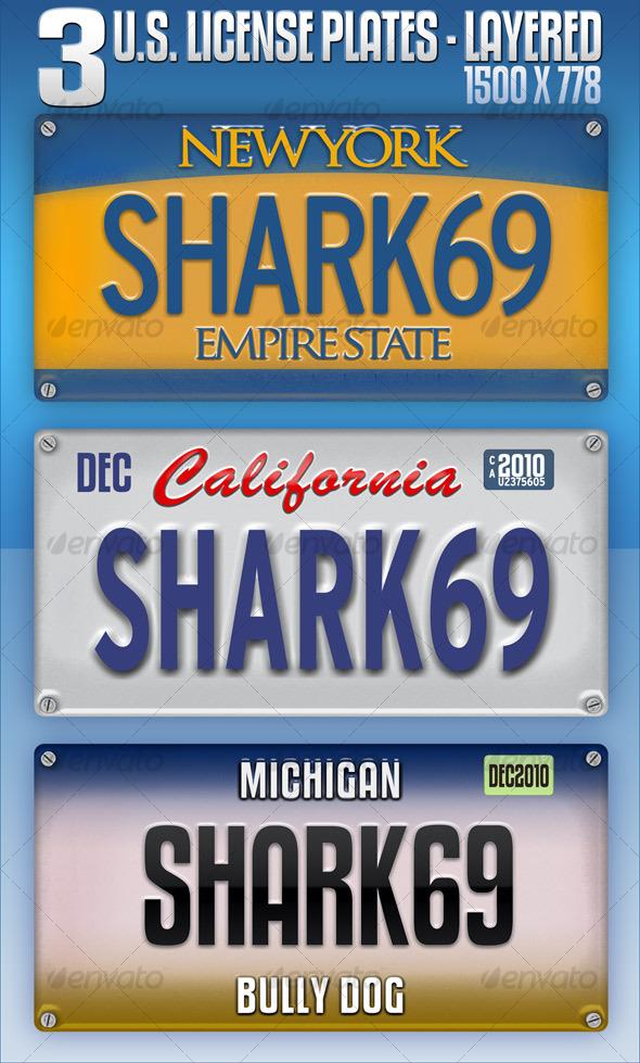GraphicRiver 3 U.S License Plates Layered 112638