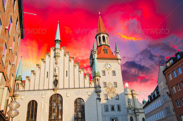 Sunset in Munich - Stock Photo - Images