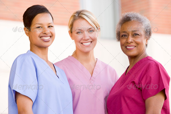 PhotoDune Nurses Standing Outside A Hospital 329845