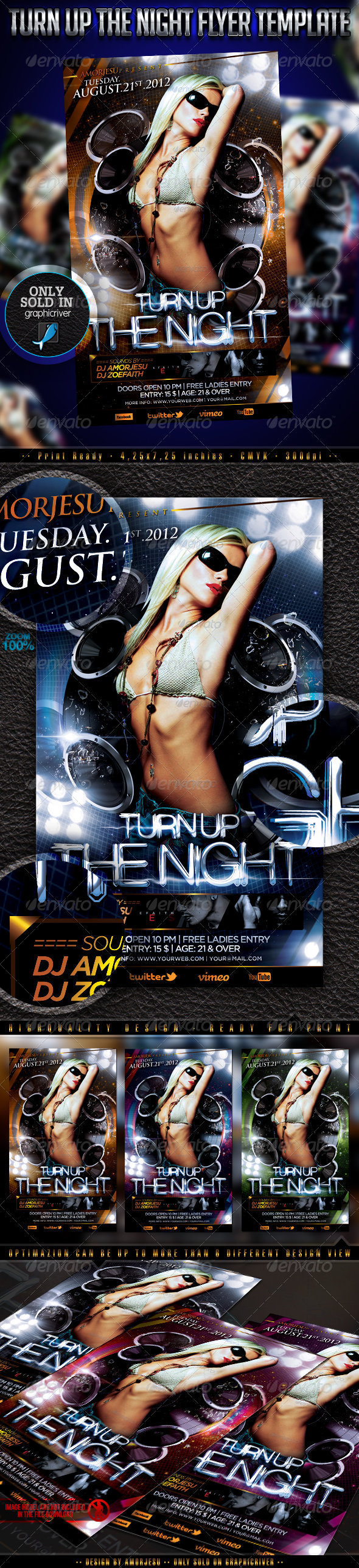 Turn Up The Night Flyer Template - Events Flyers