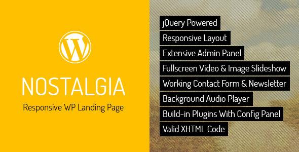 ThemeForest Nostalgia Responsive WordPress Landing Page 3199965