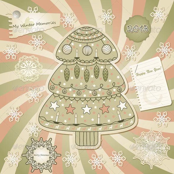 Vector Greeting Card with Fir Tree Scrapbook Sty