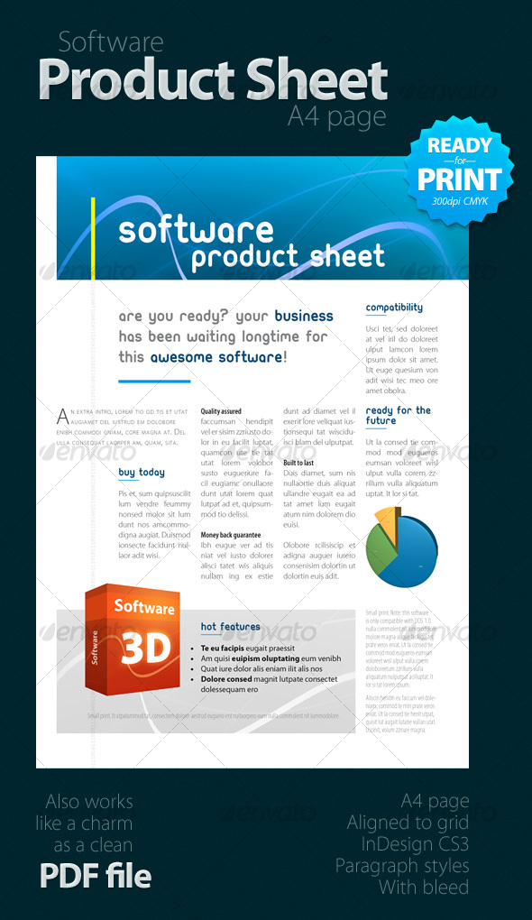 Software Product Sheet A4 Graphicriver
