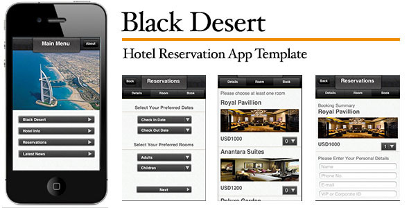 CodeCanyon Black Desert Hotel Reservation App Template 3152658