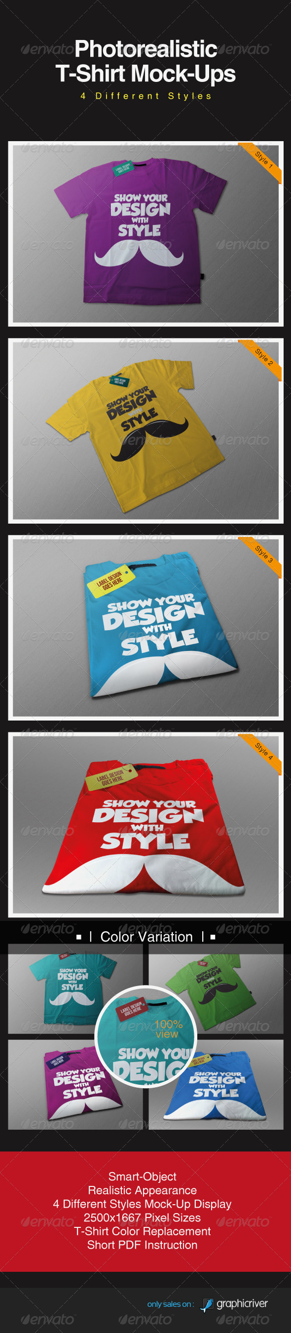 GraphicRiver Photorealistic T-Shirt Mock-Ups 3201358