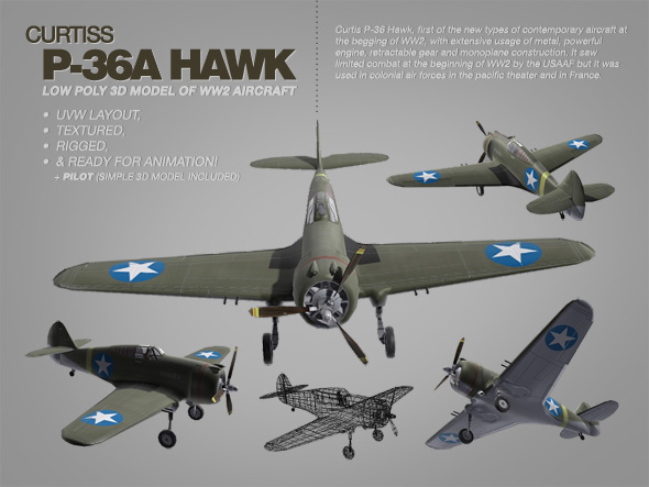 Curtis P-36 Hawk 3ds max model of WW2 aircraft
