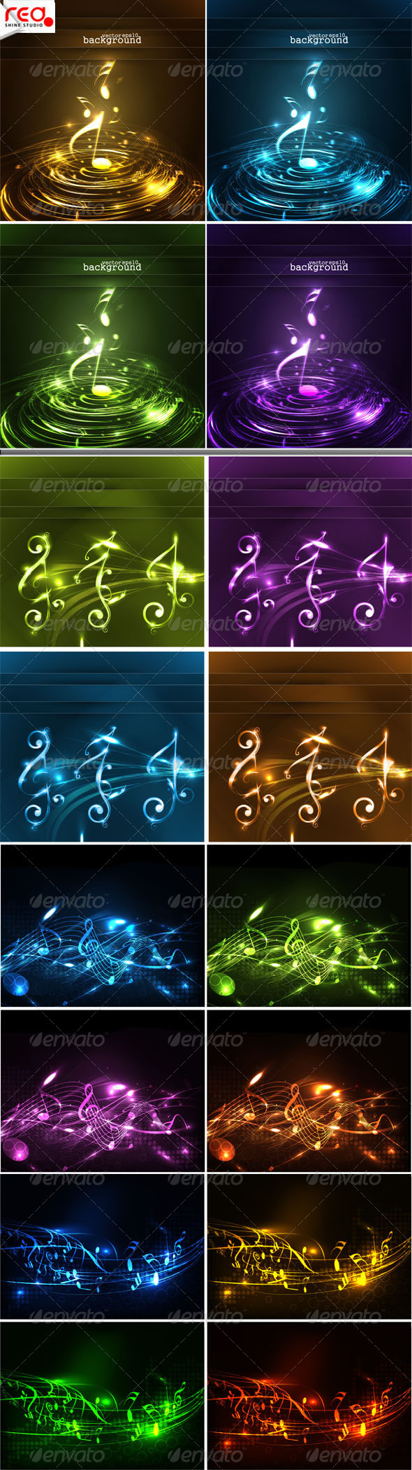 Collection Of Colorful Music Note - Decorative Symbols Decorative
