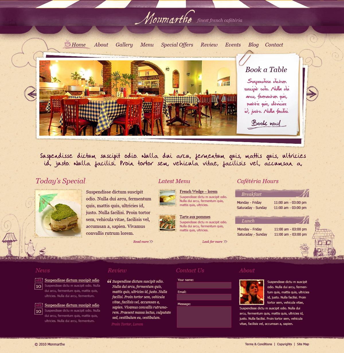 monmarthe restaurant cafe html template by themelaboratory themeforest. Black Bedroom Furniture Sets. Home Design Ideas