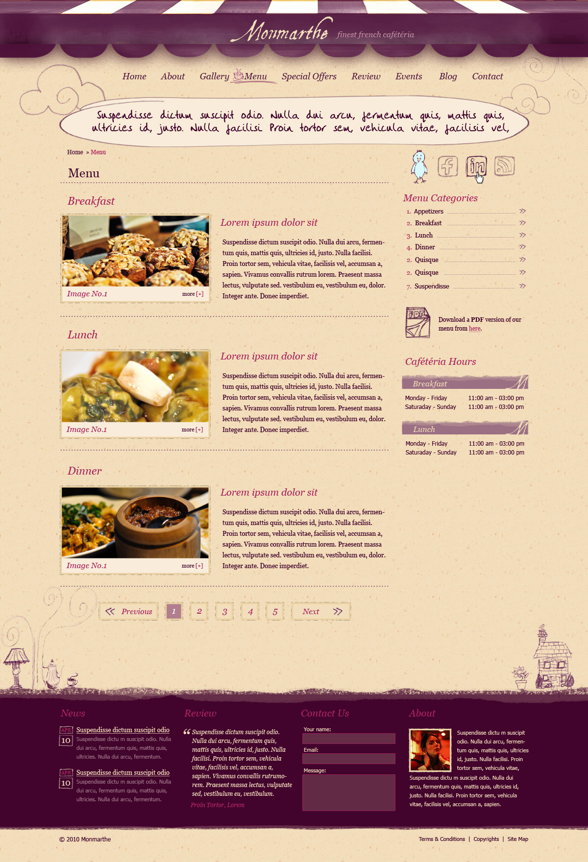 Monmarthe Restaurant and Cafe HTML Template by ThemeLaboratory – Contact Book Template