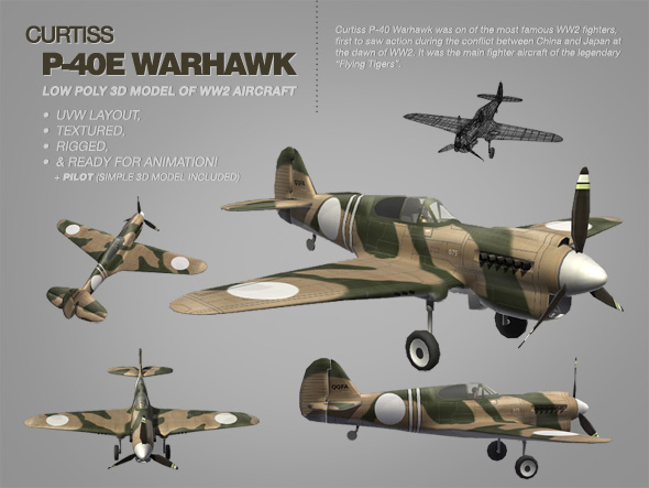 Curtiss P-40E Warhawk 3ds model of WW2 aircraft - 3DOcean Item for Sale