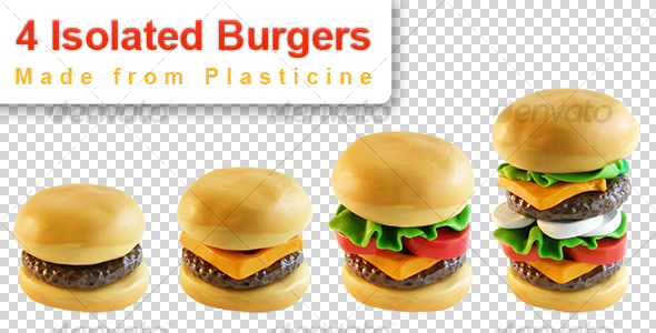 4 Burgers (isolated plasticine objects) - Food & Drink Isolated Objects