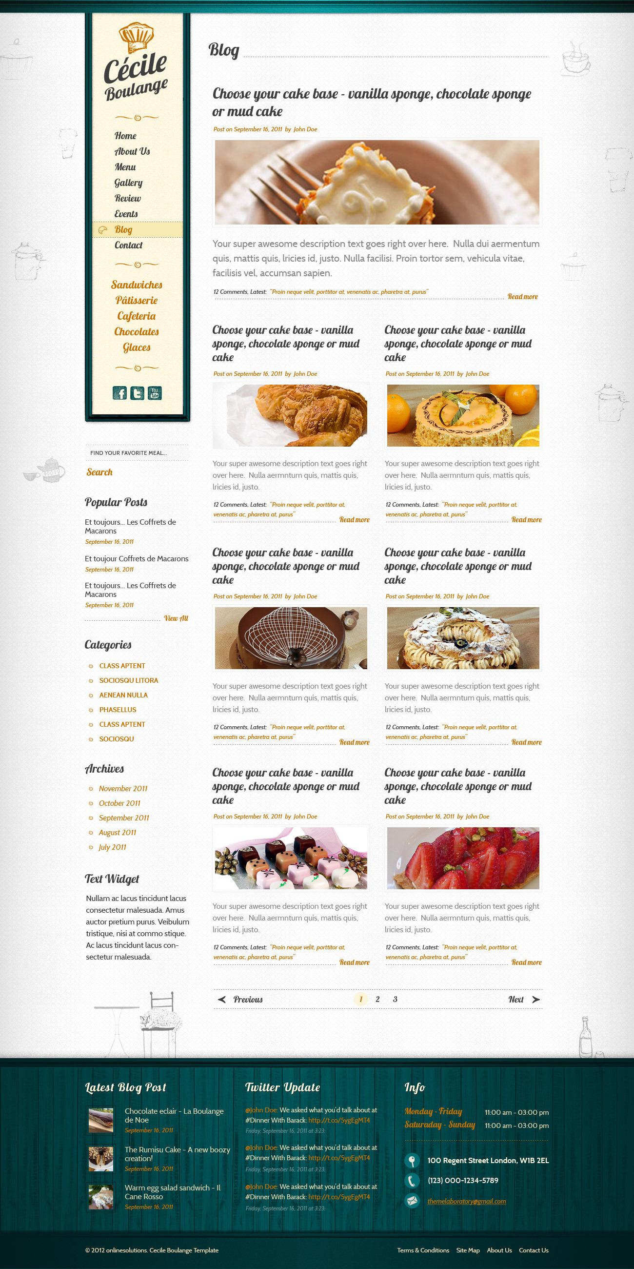 Cecile Boulange HTML - Bakery, Restaurant, Cafe