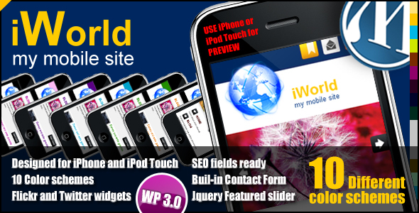 ThemeForest iWorld Mobile WP Theme 112851
