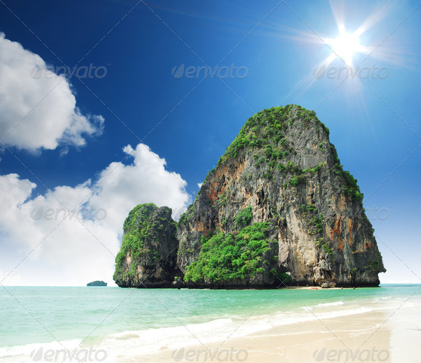 phra nang bay and railay bay krabi Thailand - Stock Photo - Images