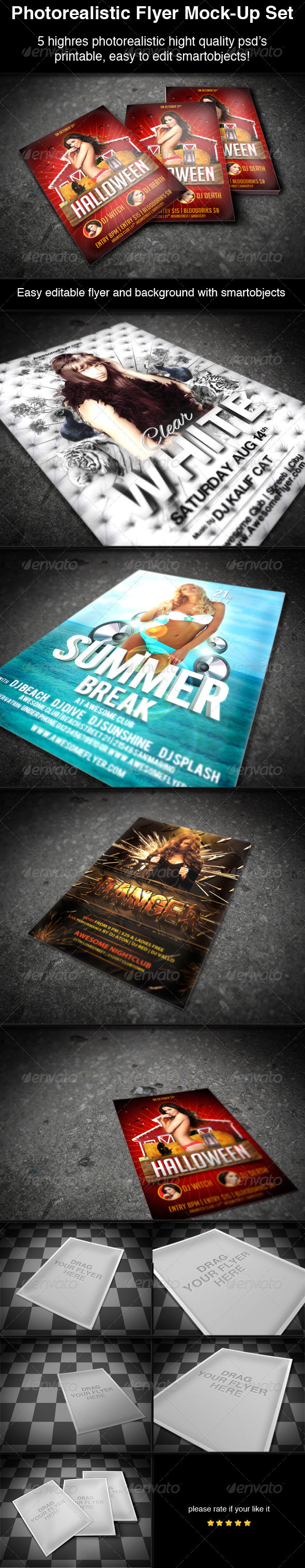 Photorealistic Flyer Poster Mock-Up Set