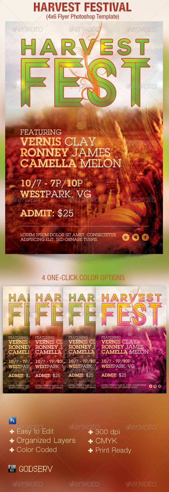 Harvest Festival Church Flyer Template - Church Flyers