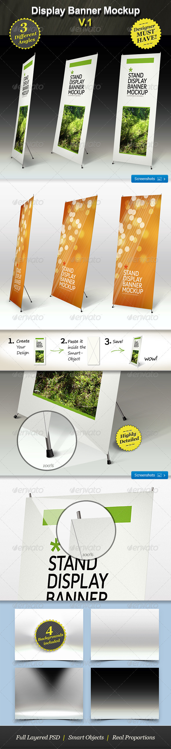 GraphicRiver Stand Display Mockup Roll-up Smart Template 168028