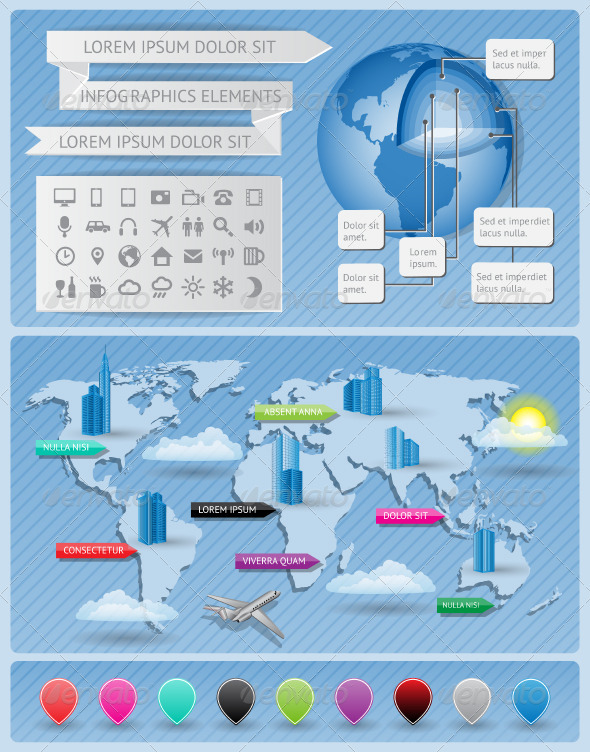 GraphicRiver Infographics elements with world map 3204996