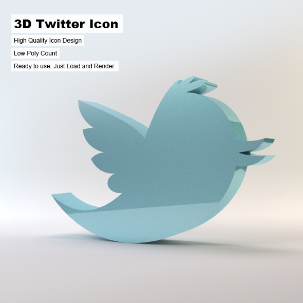 3D Twitter Icon - 3DOcean Item for Sale