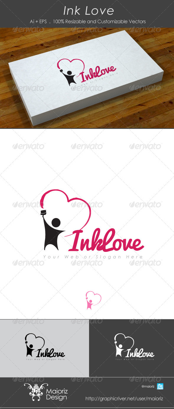 Ink Love Logo - Vector Abstract