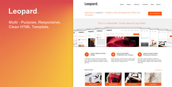 ThemeForest Leopard Responsive and Clean HTML Template 3206105