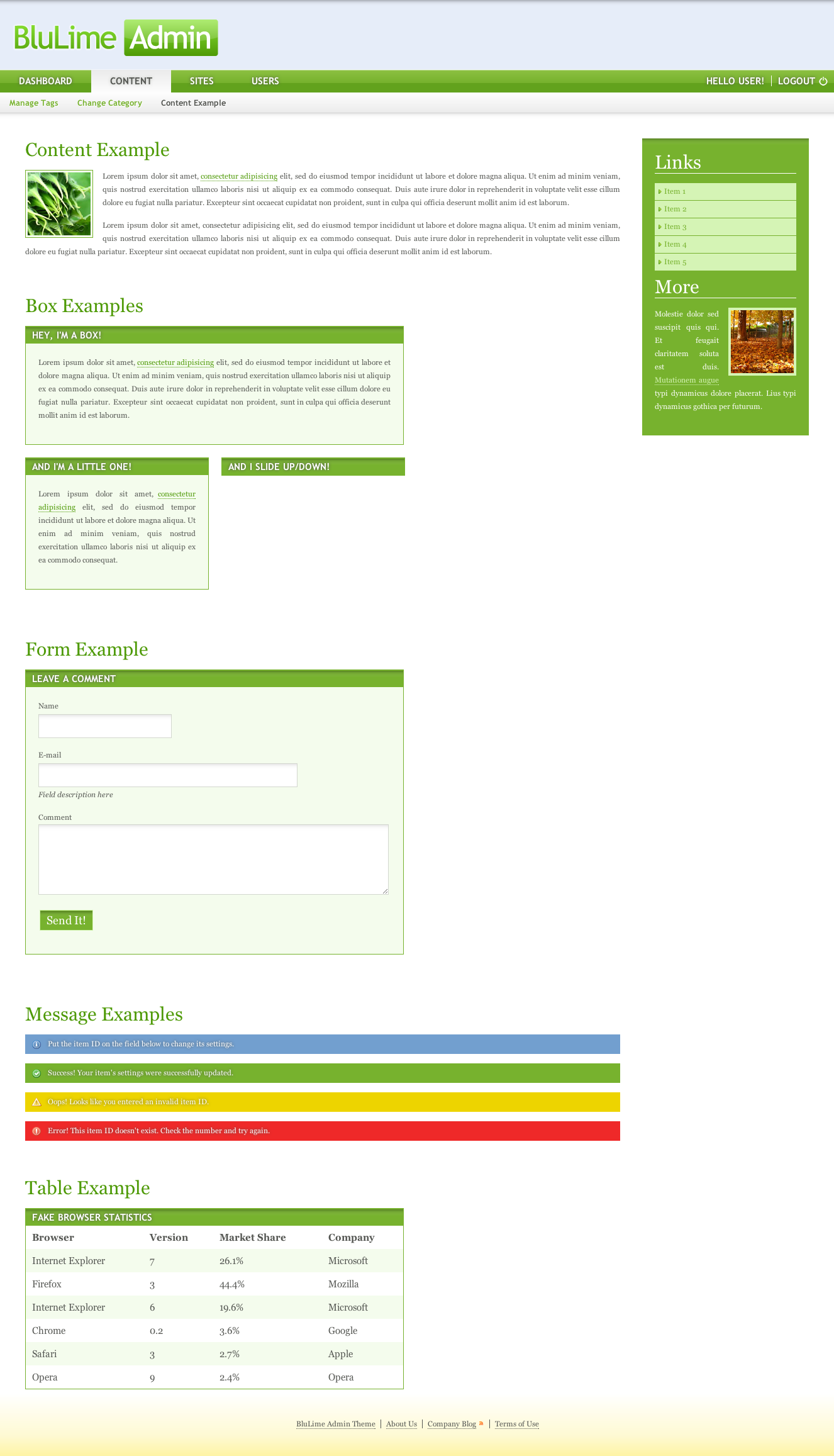 BluLime Admin - BluLime Admin default page displaying content, box, form, message and table elements. Sidebar also supports any type of content like text, inline and block links, images and videos.