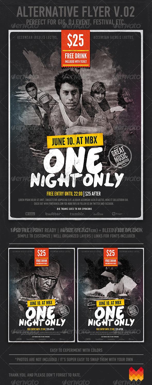 Alternative / Grunge Flyer or Poster v.02 - Events Flyers