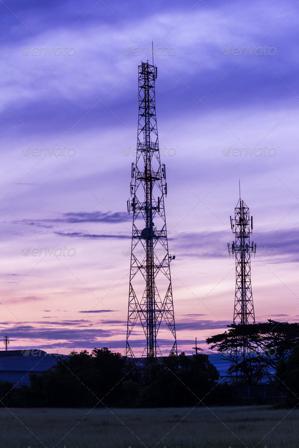 mobile phone antenna tower at twilight morning - Stock Photo - Images