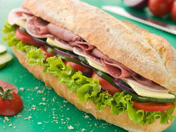 PhotoDune Deli Sub Sandwich on a Chopping Board 330968