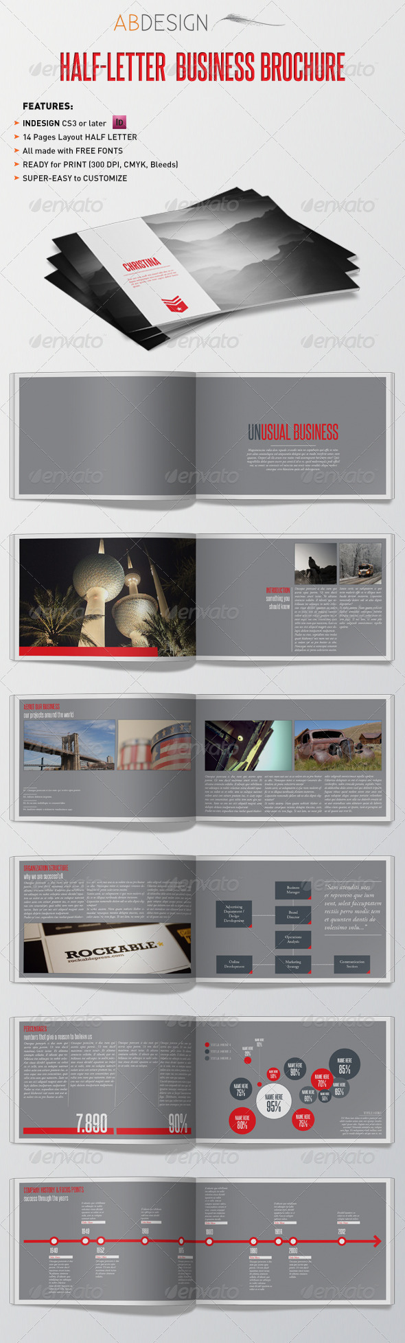 Half-Letter Business Brochure Template - Brochures Print Templates