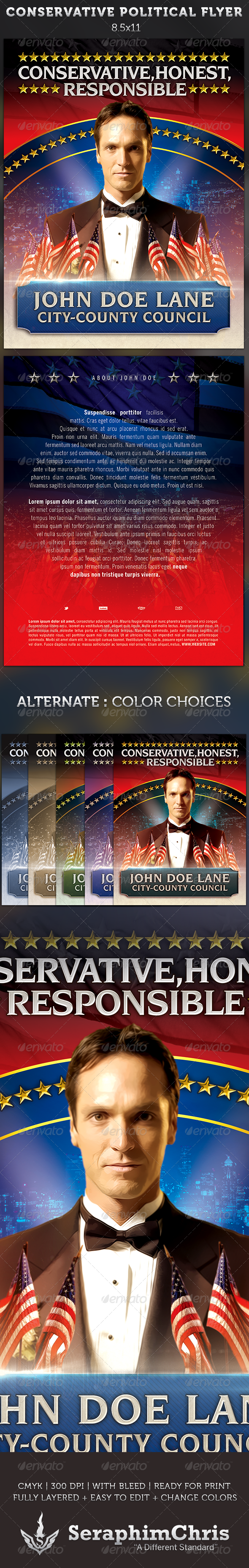 Conservative Political Flyer Template - Corporate Flyers
