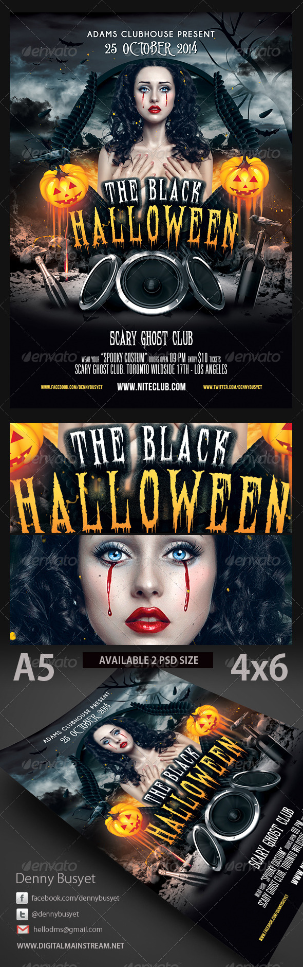 GraphicRiver The Black Halloween Psd Flyer Template 3189775