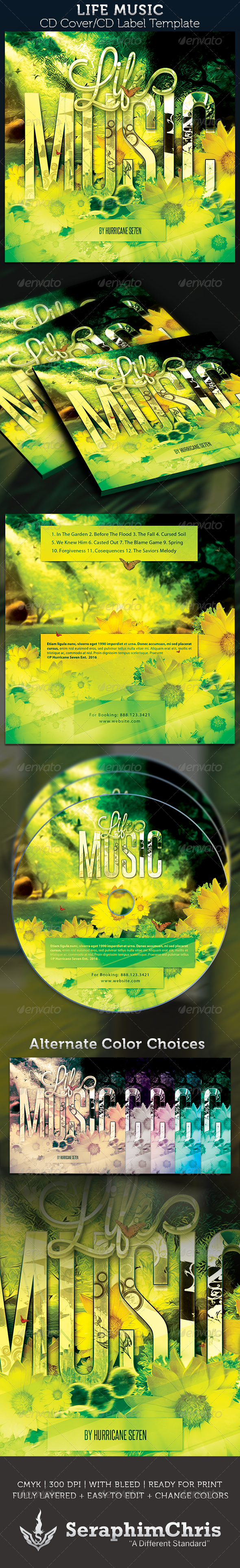 Life Music CD Cover Artwork Template - CD & DVD Artwork Print Templates