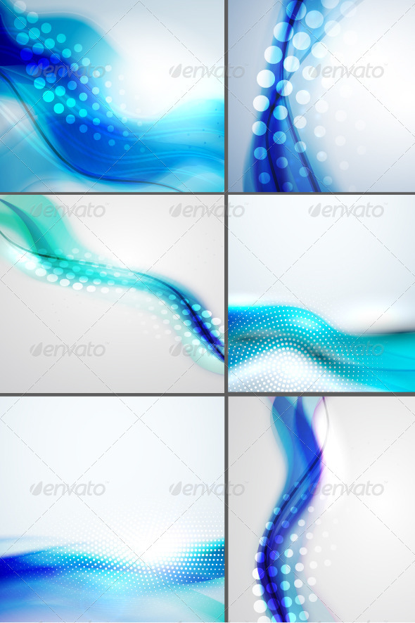 Shiny Blue Wave Backgrounds