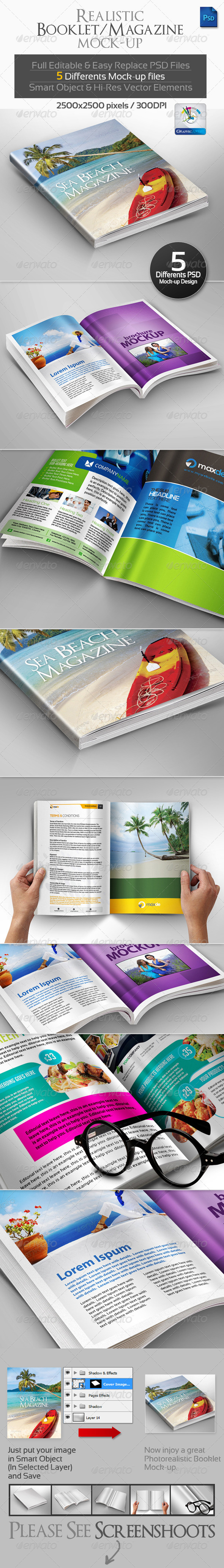 GraphicRiver Realistic Booklet Magazine Mock-ups 3214770