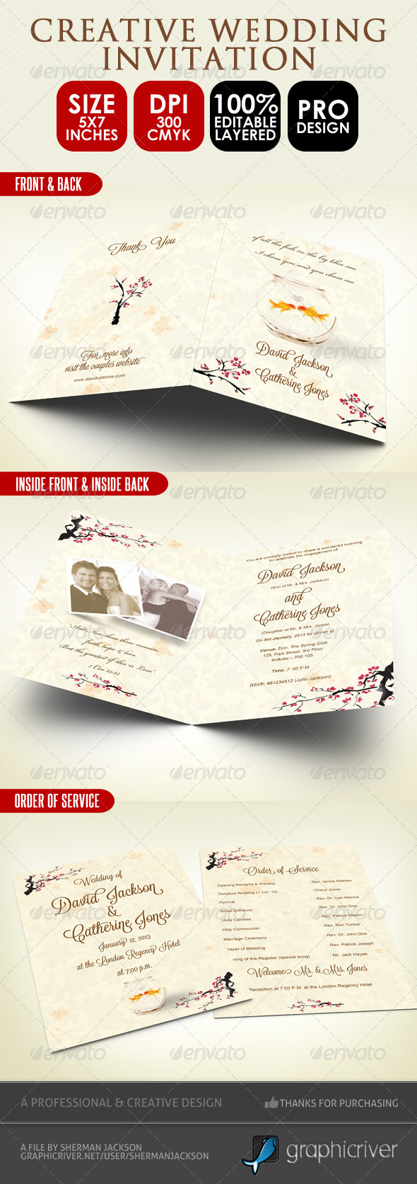 Creative Wedding Card & Order of Service PSD - Weddings Cards & Invites