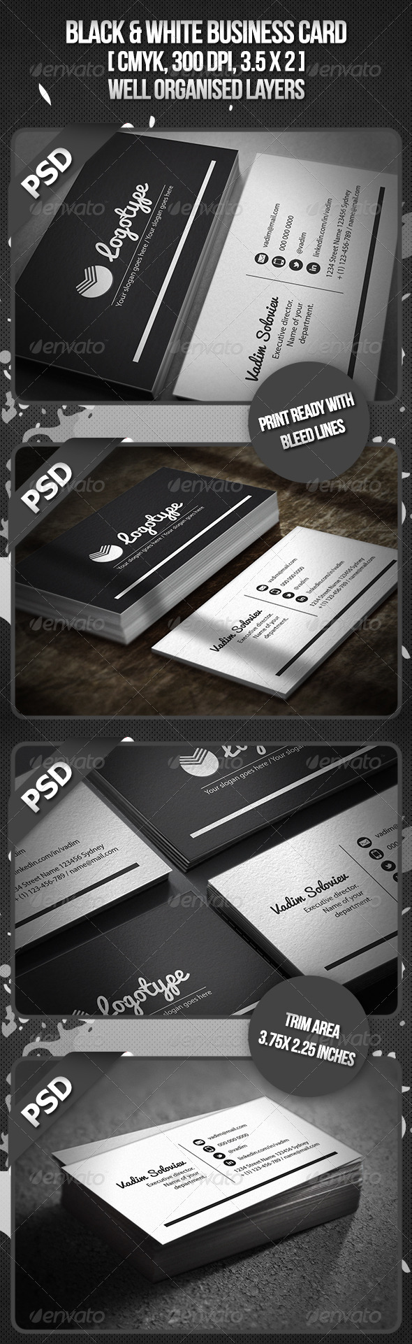 Black & White Business Card - Corporate Business Cards