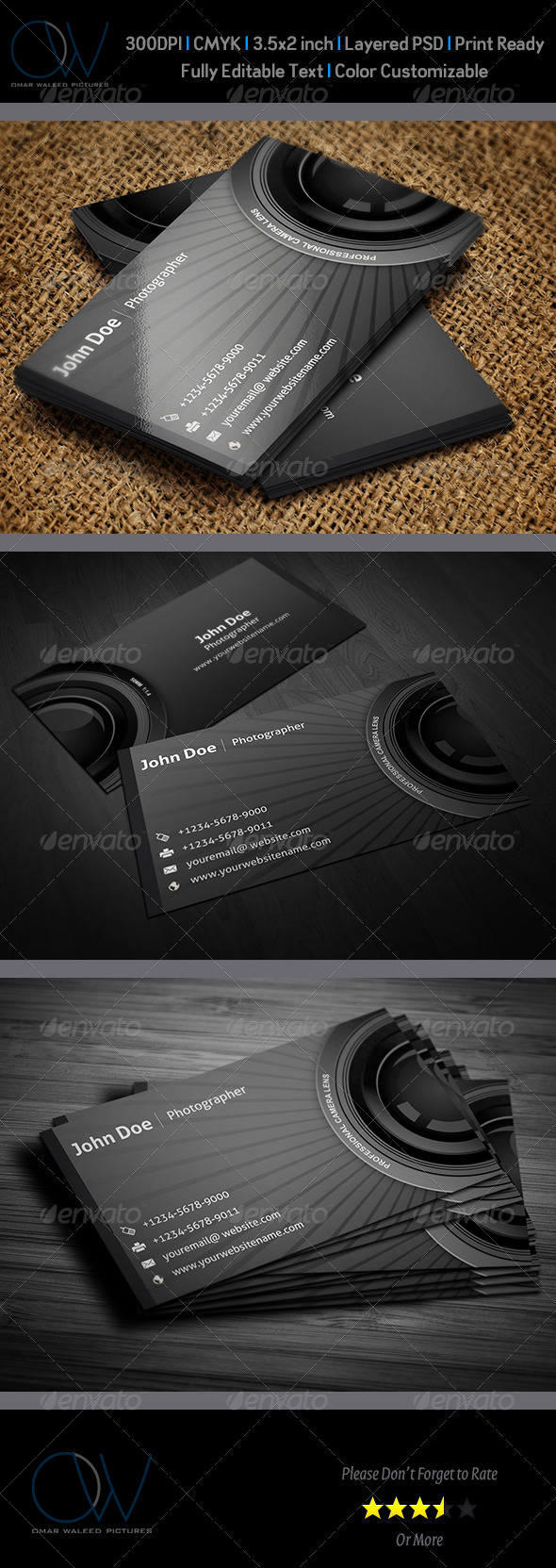GraphicRiver Photographer Business Card 3216415