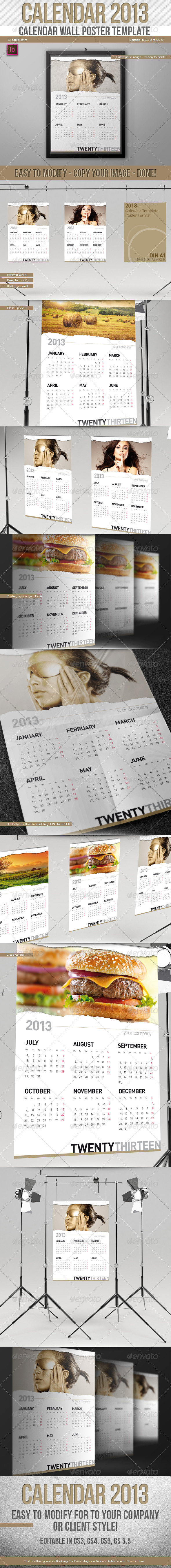 GraphicRiver 2013 Calendar Wall Poster Template Paper Rip 3216438