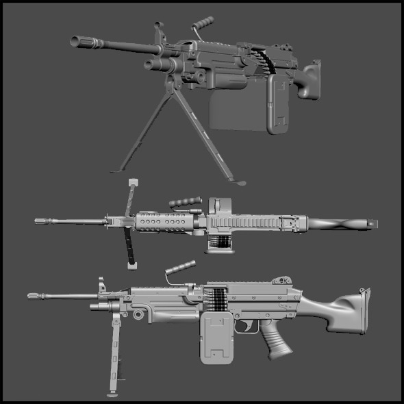 High Poly M249 - 3DOcean Item for Sale