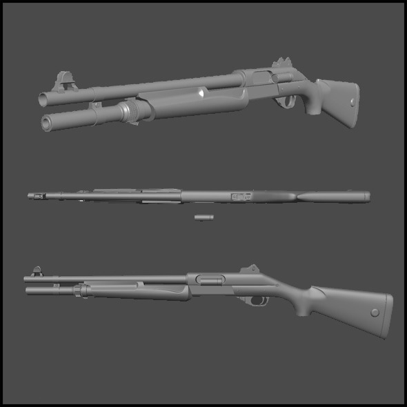 High Poly Benelli Nova Pump Tactical  - 3DOcean Item for Sale