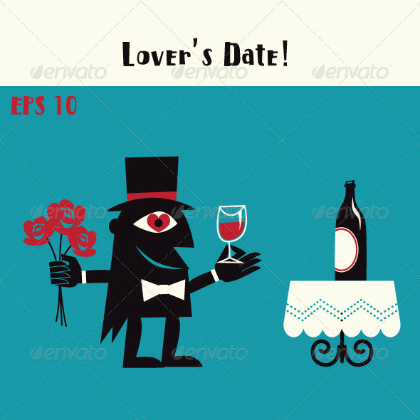 Lover on a Date with Wine & Roses - Characters Vectors